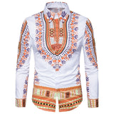 Printed Long Sleeve Shirts African Men Clothing