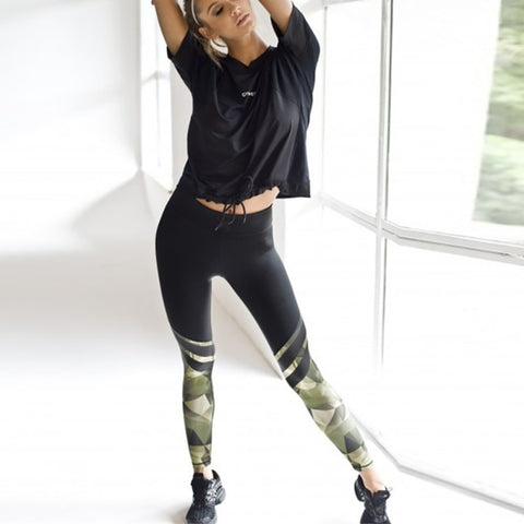 Harajuku Push Up Fitness Legging Camouflage Stripe Bodybuilding Women's leggings Sportswear Athleisure Female Pant Sale