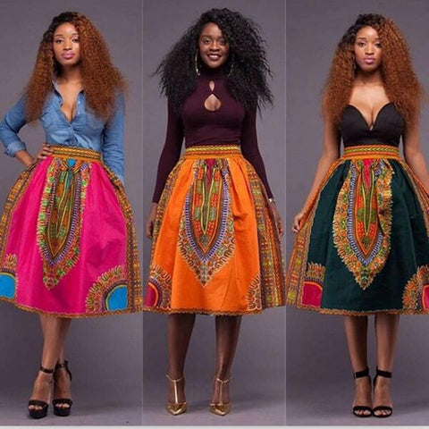 African Women Skirt african style Digital printing High Waist Vintage Skirts Casual Ladies