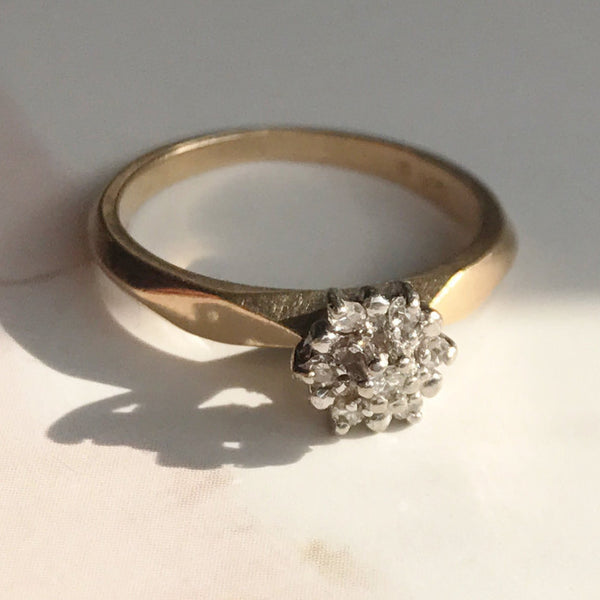 Vintage diamond cluster engagement promise ring | 10k gold multi diamond star | white and yellow gold | bridal fine stack ring | size 5