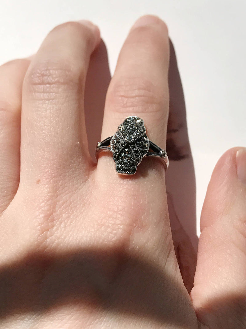 Vintage marcasite ring |  Art Deco 1940's sterling silver metallic X ring | dark gray black gemstone | gothic mod cocktail ring | size 8 1/4