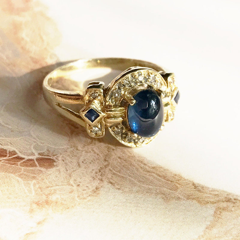 Vintage sapphire and diamond ring | 14k gold cocktail engagement ring | Princess Kate Middleton ring | bridal fine jewelry | size 6 3/4