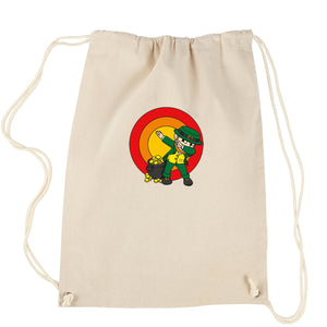 Dabbing Leprechaun Rainbow Drawstring Backpack