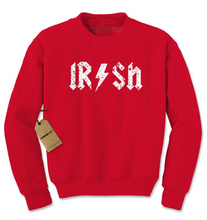Irish Rockstar Band Logo St. Patrick's Day Adult Crewneck Sweatshirt