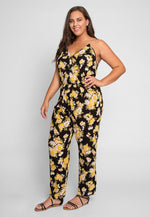 Plus Size Willow Floral Jumpsuit in Black