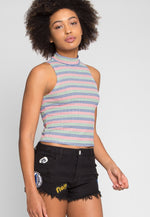 Rainbow Stripe Tank in Navy