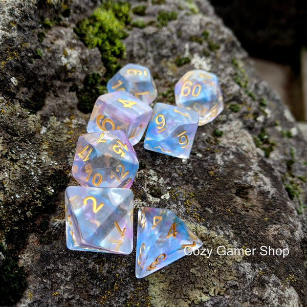 Reflection Dice Set, Transluscent Resin Dice with Blue and Purple Ink