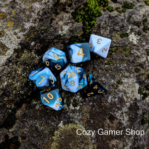 Whirlpool Blue and White Dice Set, Marbled 7 Piece D&D Dice Set