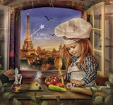 Digital background / backdrop Chef cooking Paris