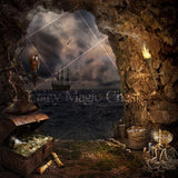 Digital background / digital backdrop pirate cave