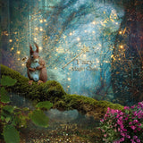 Digital background / backdrop squirrel on branch, magical forest