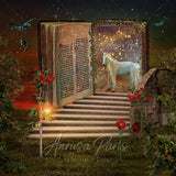 Digital background / backdrop open book and unicorn