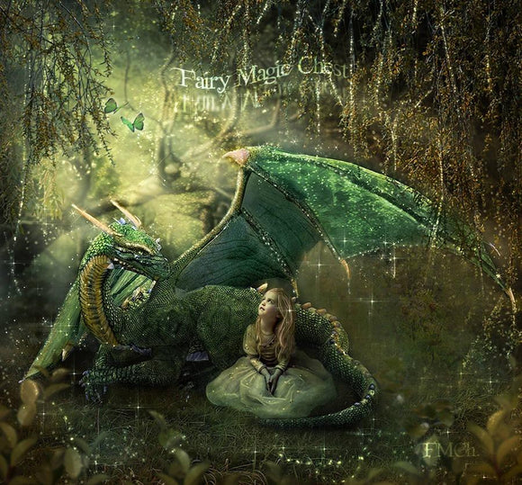 Fantasy digital background with dragon