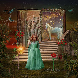 Digital background / backdrop with stairs, open book and unicorn