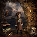 Digital background pirate cave , treasure