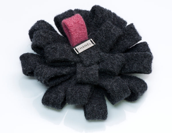 Chanel Wool Camellia Flower Brooch