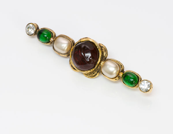 Vintage Chanel Gripoix Green Red Glass Pearl Pin Brooch