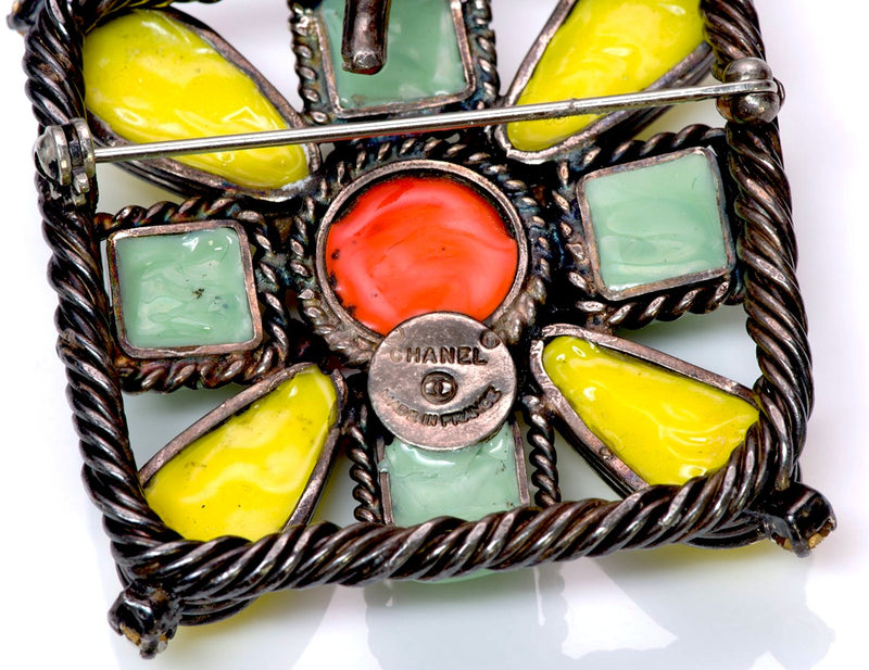Chanel Yellow Green Orange Gripoix Glass Pendant Brooch 2