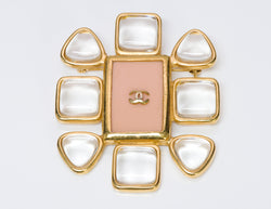 Chanel CC Gripoix Pink Glass Brooch