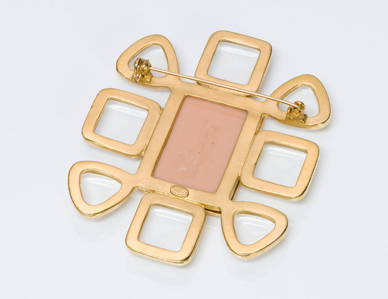 Chanel CC 1996 Gripoix Pink Glass Brooch