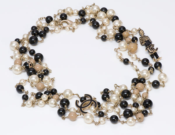 Chanel CC 100th Anniversary Enamel Coco Mademoiselle 3 Strand Pearl Necklace