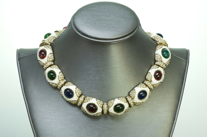 Ciner Enamel Cabochon Crystal Necklace
