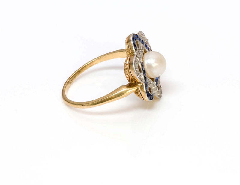 Antique Edwardian Sapphire Diamond Pearl Ring