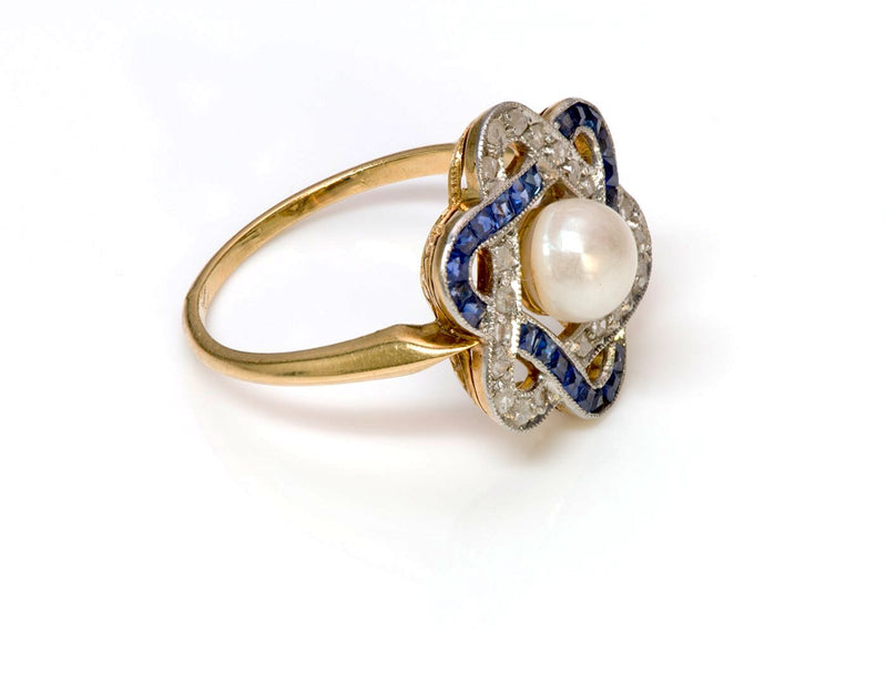 Antique Edwardian Sapphire Diamond Pearl Ring 3