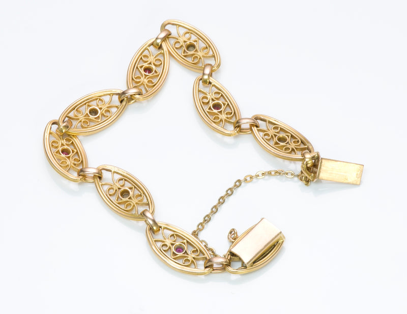 French Ruby Gold Bracelet