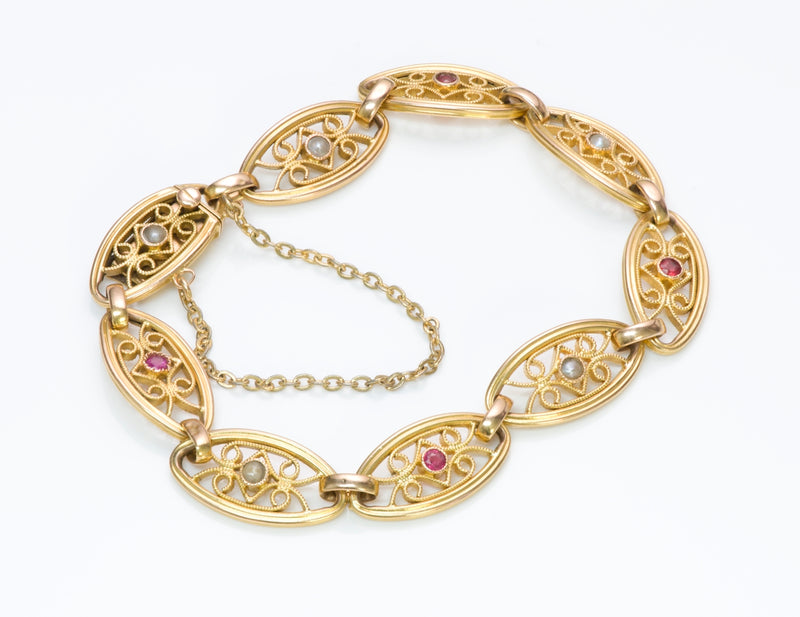 Antique French Ruby Pearl Gold Filigree Bracelet