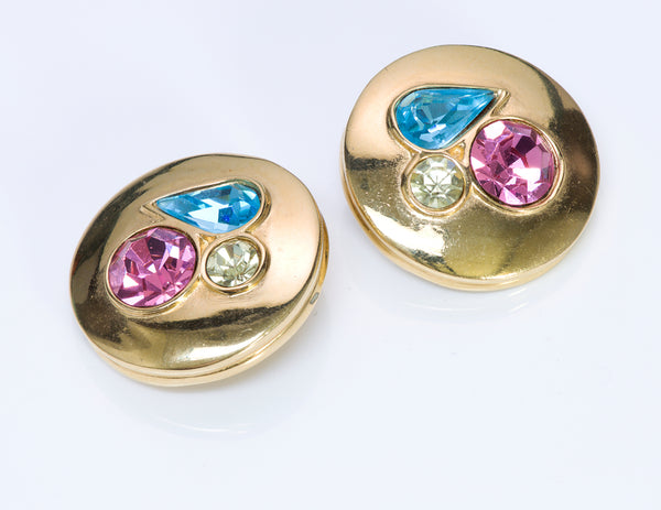Givenchy Paris Blue Pink Crystal Earrings1