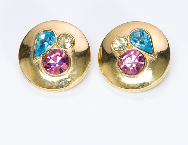 Givenchy Paris Blue Pink Crystal Earrings