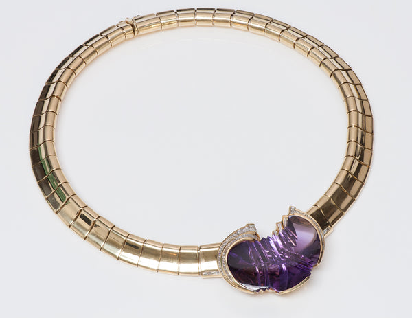 H. Stern Amethyst Diamond Gold Necklace