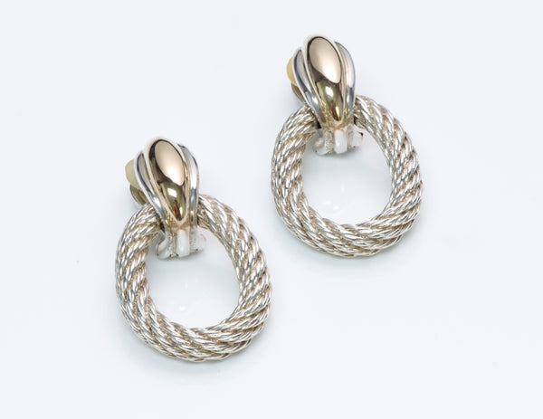 Hermès Silver Gold Door Knocker Earrings