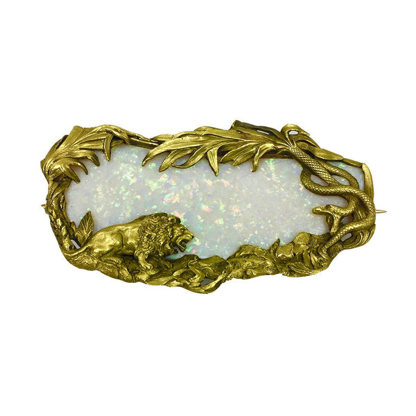 Antique Carved Gold Opal Brooch