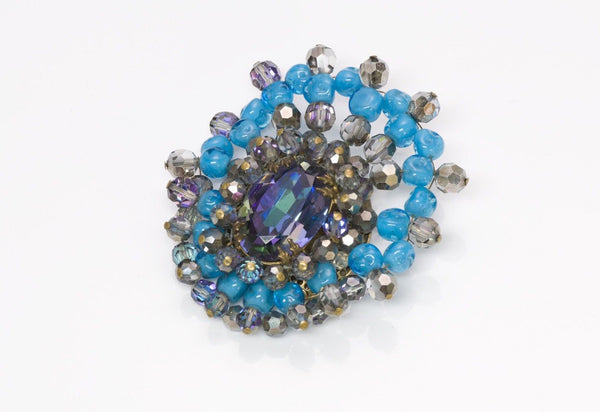 Louis Rousselet France 1940 Turquoise Glass Brooch