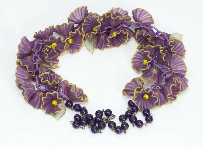 Miriam Haskell 1930's Purple Celluloid Flower Leaf Necklace
