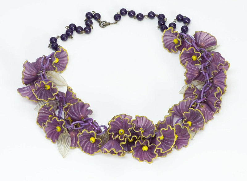 Miriam Haskell 1930's Purple Celluloid Plastic Flower Leaf Necklace