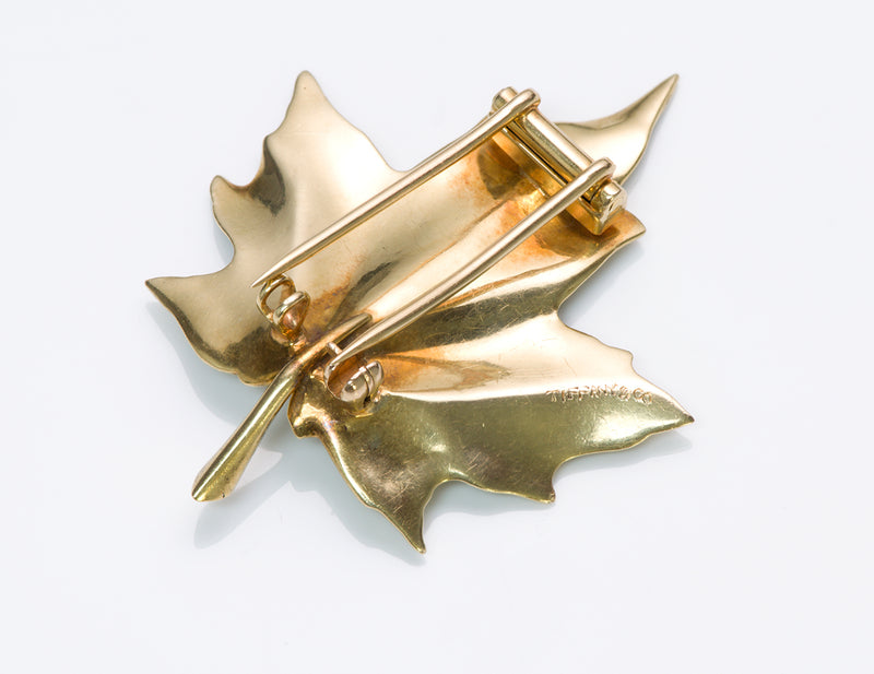 Tiffany & Co. Gold Maple Leaf Clip Brooch