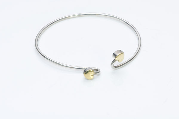 Vintage Tiffany & Co. Silver Gold Double Heart Bracelet