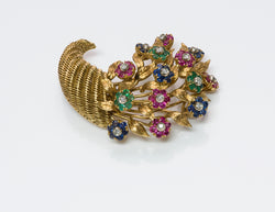 Tiffany & Co. 18K Gold Ruby Emerald Sapphire Diamond Tremblant Cornucopia Brooch