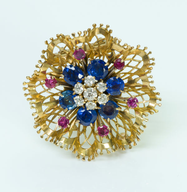 Van Cleef & Arpels Sapphire Diamond Ruby Gold Brooch