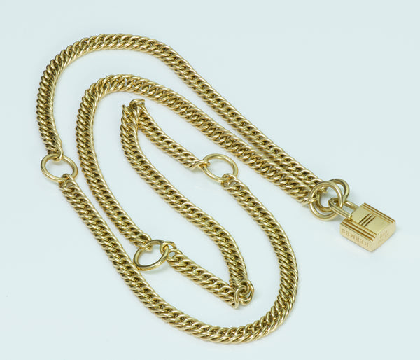 Hermes 18K Gold Padlock Chain Necklace/