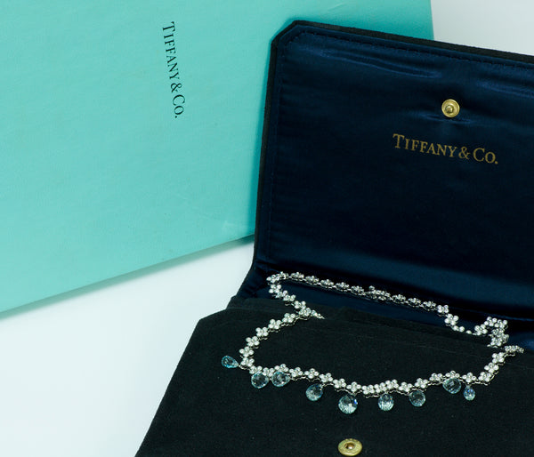 Tiffany & Co. Platinum Diamond & Briolette Aquamarine Lace Necklace