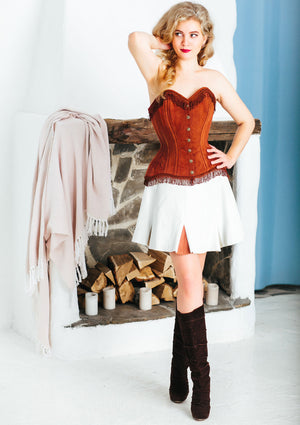Brown lambskin suede exclusive overbust corset from Corsettery Western Collection