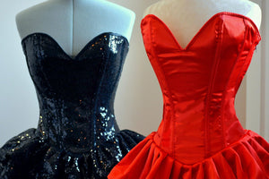 Authentic corset dress with fluffy skirt, siquins or satin fabric. Regular sizes on stock sale! Prom, Valentine, wedding dress