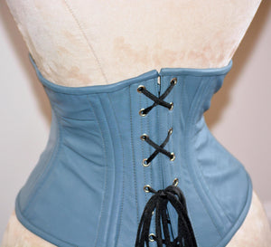 Authentic steel boned underbust corset from hand dyed lambskin. Waist training corset for tight lacing. Trendy fashion leather gray belt