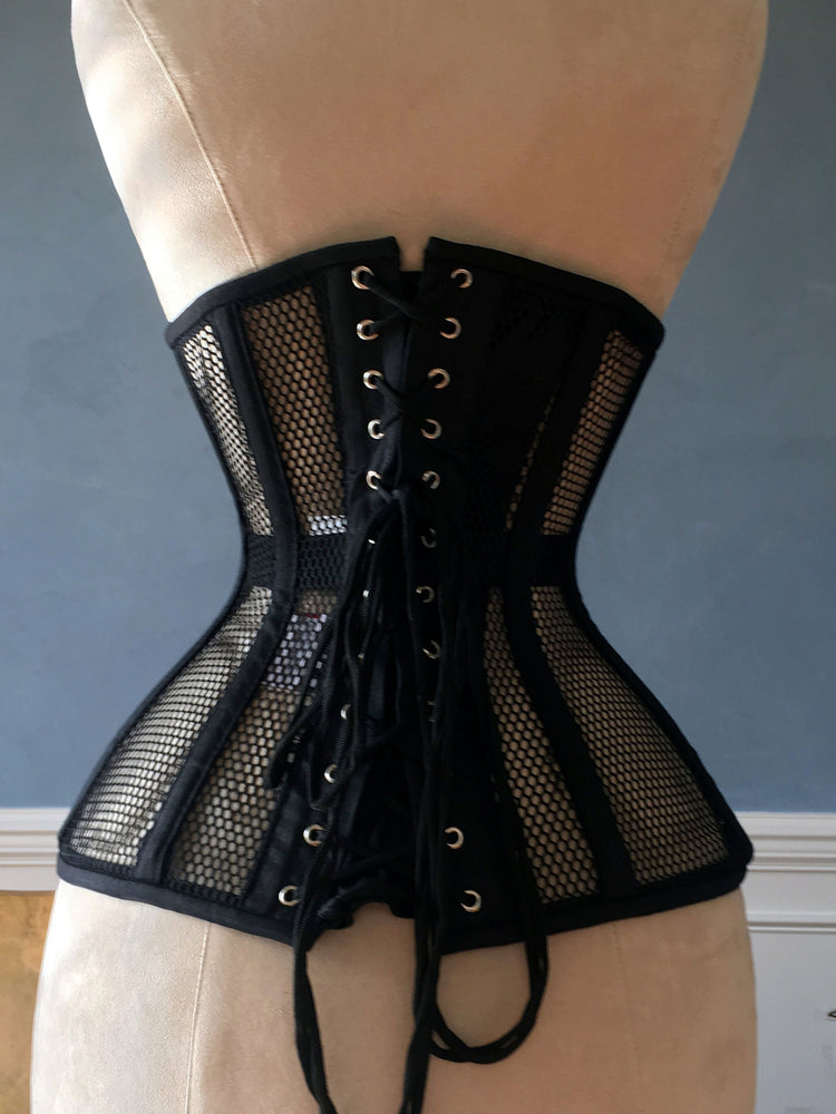 Black steel boned underbust corset from mesh. Authentic corset for tight lacing