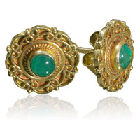 Indian Gold Ear Studs Set With Emerald - Tribu  - 1