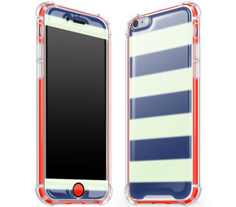 Nautical Striped / Neon Red <br>iPhone 6/6s - Glow Gel case combo